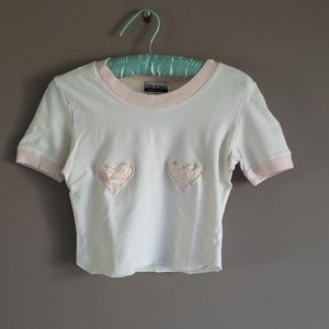 Vtg Contempo Casual Baby Pink Heart White Crop Tee